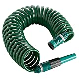Amig - Manguera de Riego en Espiral con Accesorios de ABS Para Jardinería o Limpieza - Incluye Lanza de Riego de Boquilla Regulable de 1/2? | Extensible - Longitud Máxima de 7,5 m - Color Verde