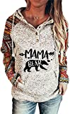 Ladies Aztec Western Style Mama Bear Letter Print Hooded Sweatshirt, Polar Bear Printed Sleeve Drawstring Hoodie-X-Large,White