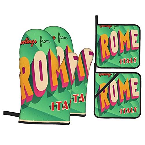 Juego de 4 Manoplas para Horno y Soportes para ollas,Vintage Touristic Rome,Italia,Guantes de poliéster para Barbacoa con Forro Acolchado,