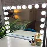 Glamour Mirrors™ Marilyn LED Hollywood Espejo | Cambio de color de día a noche | Luces regulables | USB incorporado | Espejo de tocador para mesa y pared | 60 cm x 80 cm