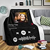 Custom Blanket with Picture Scan Spotify Code Photo Black Blanket Personalized Fleece Blanket Throw Stroller Soft Blanket Design Your Own Blanket Baby Adult Bedroom Decor Birthday Wedding Gift 30x40
