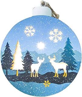 VOSAREA Adornos Colgantes de Navidad Decoración de luz Colgante de Madera Hueca Creativa para Fiesta en