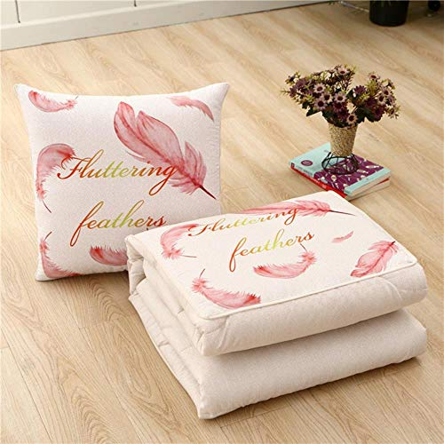 WTMLK 2 in 1 Cute Cartoon Cushion Blanket,Foldable Patchwork Quilt Blanket, Travel Car Pillow Blanket, Square Home Office Throw Pillow,feather,40x40cm 100x150CM