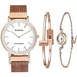 MAMONA Women's Rose Gold Quartz Watch Gift Set...