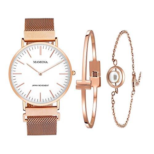 MAMONA Damen Uhr Set Analog Quarz mit Edelstahl Anpassbares Netzband Armband L3881RGGT