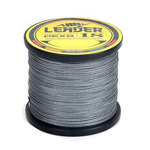 LSHEL - Hilo trenzado de pesca (8 hilos, 1000 m, polietileno, para agua dulce, agua salada), EURA62JU910T04, gris, 0.4# 0.10mm/4.8kg/10lb