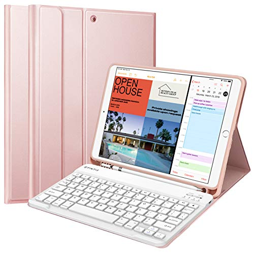 """Fintie Keyboard Case w/Pencil Holder for iPad Air 3rd Gen 10.5"""" 2019 / iPad Pro 10.5"""" 2017 - SlimShell Soft TPU Back Protective Cover w/Magnetically Detachable Wireless Bluetooth Keyboard, Rose Gold"""