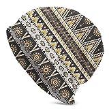 Mathillda Ethnic Tribal Sun Slouchy Knit Knit Beanie Hat para Hombres Mujeres Winter Ski Skull Cap Black