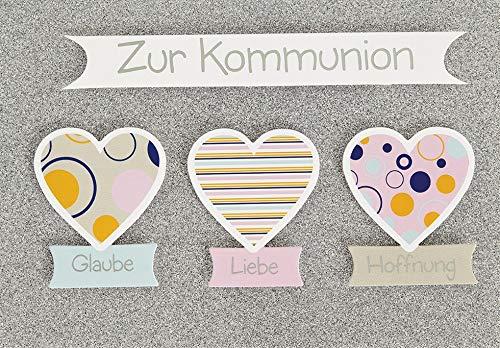 Perleberg, Karte zur Kommunion Lifestyle - Glimmerkarte mit 3 Herzen - 11,6 x 16,6 cm