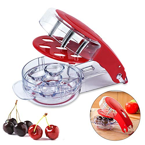 Antoyo Cherry Pitter- 6 cherries, stainless steel multi-function cherry stone remover tool olive tool machine, with dimples and juice container, used to make cherry pie and jam, red