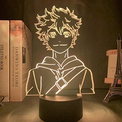GEZHF 3D ilusión lámpara led noche luz haikyuu shoyo hinata acrílico para niños habitación decoración lámpara de mesa cumpleaños vacaciones regalos para niños 16 colores