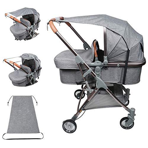 BJYX Universal Sonnensegel, Sonnensegel für Kinderwagen Baby Sonnenschutz Kinderwagen mit UV Schutz 50+ Universal [Staubdicht][Winddicht] Sonnendach für Kinderwagen und Buggy