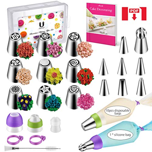 Russian Piping Tips Set 34pcs Cake Decorating Kit Baking Supplies Set large for Cupcake Cookies Birthday Party, 15 Icing Tips 2 Leaf Piping Tips 3 Couplers 10 Pastry Baking Bags,E.Book User Guide