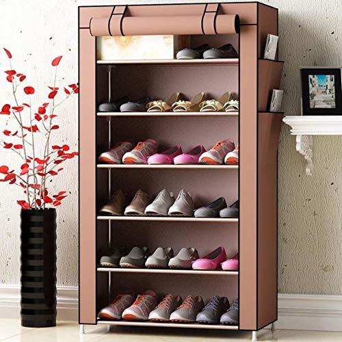 Gabinetes de zapatos no tejidos Tubo de acero reforzado Inicio montado re zapato organizador espacio Sr moda zapato gabinete-café 6L