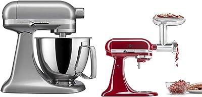 KitchenAid KSM3316XCU Artisan Mini Stand Mixers, 3.5 quart, Contour Silver & KSMMGA Metal Food Grinder Attachment, 2.5 lb, Silver