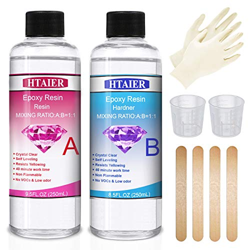 Epoxy Resin Crystal Clear Kit - 18 Oz Epoxy Resin for Art,Jewelry Making,Crafts,Keychain and Various Handicraft Works,with Have 2 pcs Graduated Cups,4 pcs Sticks,1 Pair Rubber Gloves