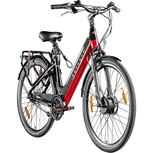 Zündapp E-Bike 28 Zoll E Cityrad Pedelec 700c Damenrad Seniorenrad Z902 Stadtrad Elektrofahrrad (schwarz/rot, 48 cm)