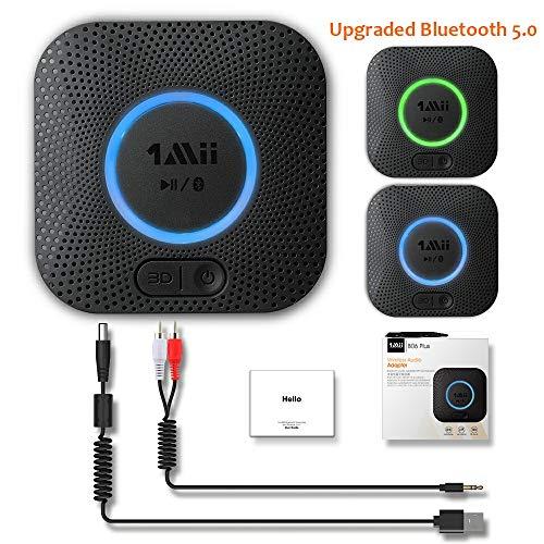1mii B06 Plus Bluetooth Empfänger Audio, Bluetooth 5.0 Receiver mit 3D Surround und aptX LL mit geringer Verzögerung, RCA/AUX Kabel, Bluetooth Adapter für Stereo Lautsprechern