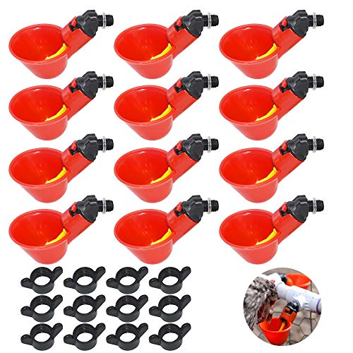 Yimaa 12 Pack Chicken Water Cups Poultry Waterer Nipples Automatic Drinker Cups Water Feeder Poultry Chicken Duck Quail Care Supplies Automatic Waterer Drinker Drinking Cup Machine
