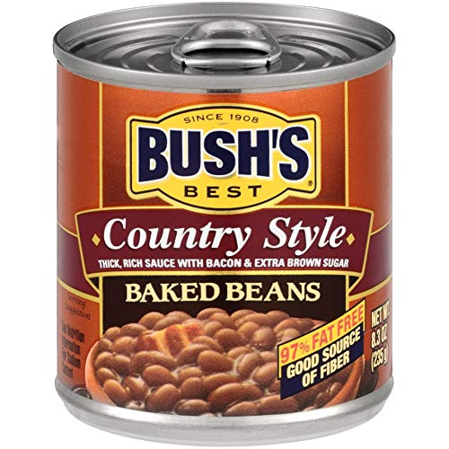 Bush's Best Country Style Baked Beans, Canned Beans, Baked Beans Canned, Source of Plant Based Protein and Fiber, Low Fat, Gluten Free, 8.3oz (Pack - 12)