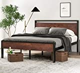 SHA CERLIN 14 Inch Queen Size Metal Platform Bed Frame with Wooden Headboard and Footboard, No Box Spring Needed / Mattress Foundation, Easy Assembly / Non-Slip Without Noise,Walnut, Mahogany