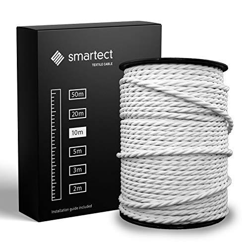 smartect Cable para lámparas de tela en color Blanco - Cable textil trenzado de 10 Metro - 3 hilos (3 x 0,75 mm²) - Cable de luz con revestimiento textil