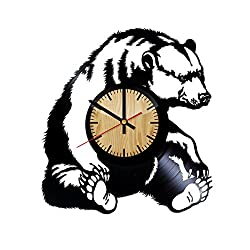 Home & Crafts Grizzly Bear Vinyl Wall Clock –Handmade Gift for any Occasion – Unique Birthday, Wedding, Anniversary, Wall Décor Ideas for any Space