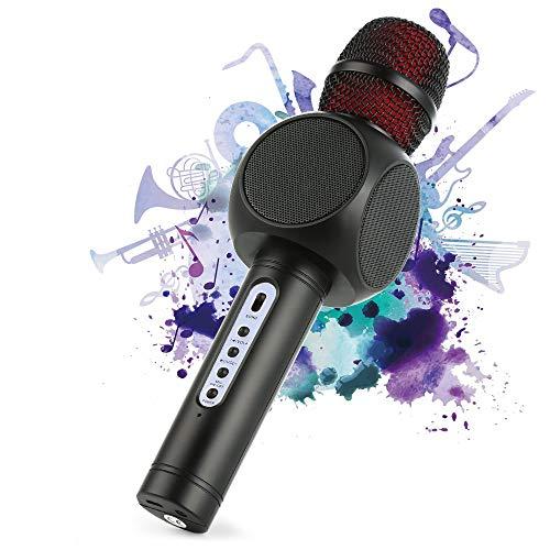 Bluetooth Karaoke Mikrofon, Tragbarer Karaoke Player Lautsprecher Kompatibel Mit Apple Iphone Android Smartphone Oder PC, Home KTV Outdoor Party Muisc Spielen Singen Zu Jeder Zeit(Schwarz),Schwarz