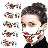 5 Stück Mundschutz mit Motiv Weihnachten, Mundschutz Stoff Waschbar, Atmungsaktive Wiederverwendbare Mouth Protection für Erwachsene Laufen, Radfahren (G)