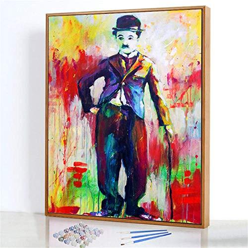 Diy Digitale Olieverfschilderij,Beschilderde wandelstok Schilderen Door Cijfers,Linnen Canvas ,Foto Voor Binnendecoratie - 40x50cm(Fotolijst)
