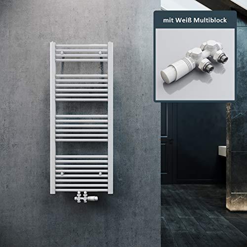 ELEGANT Heizkörper Bad 1200x500mm Weiß Badheizkörper Mittelanschluss Heizkörper Handtuchtrockner Handtuchwärmer mit Weiß Multiblock Thermostat