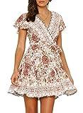 ZESICA Women's Summer Wrap V Neck Bohemian Floral Print Ruffle Swing A Line Beach Mini Dress White