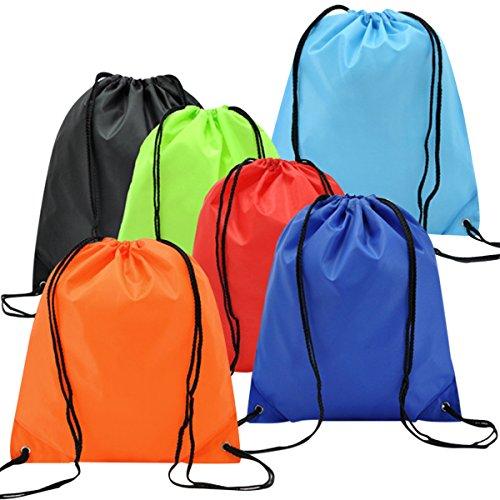 EASEHOME 6 Pack Sac à Dos Cordon, Sac Nylon de Gym de Voyage Chaussures Tissu Jouet Organisateurs Bagage Sac Rangement Sac Emballage Pochette Vêtements pour Enfant Adulte