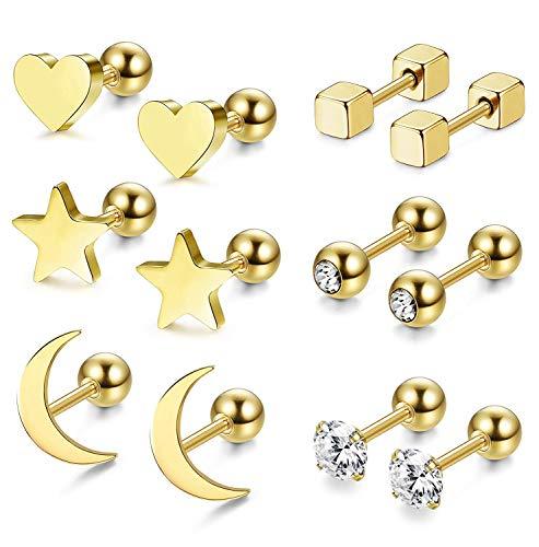 Finrezio Chirurgenstahl Ohrstecker Mond Sterne und Herzen für Frauen Mädchen Piercing Helix Knorpel Gold 6 Paar