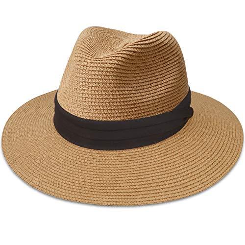 Maylisacc Panama Hat for Women, Wide Brim Beach Straw Sun Hats Foldable Sun-Fedora UPF50 (Khaki SZ)