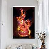 RTCKF Guitarra Lienzo Arte de la Pared Pintura Nordic Cool Carteles e Impresiones Lienzo Pintura para Adultos decoración del hogar Sala de Estar Mural Decorativo A3 50x70cm