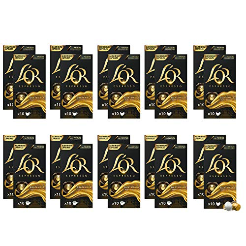 L'OR Espresso Café Guatemala Intensidad 7 – Cápsulas de Aluminio Compatibles con Máquinas Nespresso (R)* - 20 paquetes de 10 cápsulas (200 bebidas)