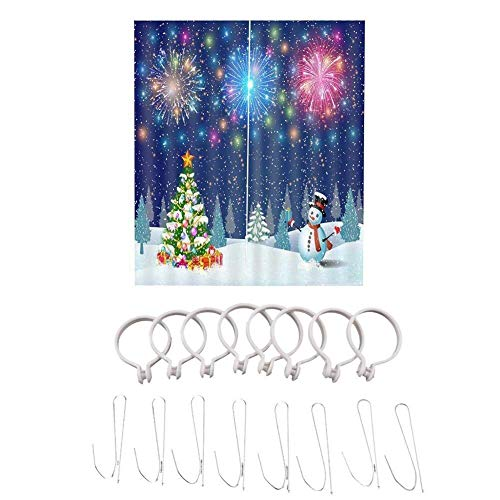 Gardine Verdunklungsgardine Weihnachtsvorhang-3D Digitaldruck Schneemann Vorhang, Weihnachtsschmuck Wohnzimmer Schlafzimmer Vorhang for Hochzeit Schlafzimmer Hausgarten Kinder Schlafzimmer Vorhänge