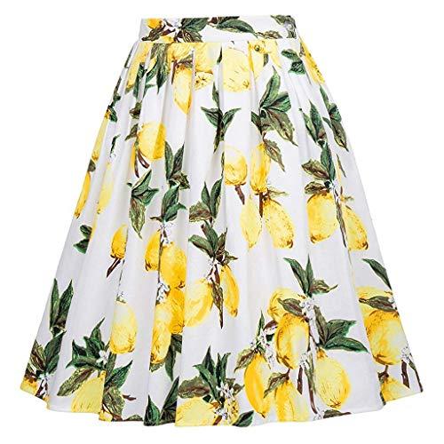 iYmitz Sommer Damen Faltenrock Retro Heißer lässig Tutu Taille Blumen Rock Halbe Länge 1920s Drucken VintageKleid