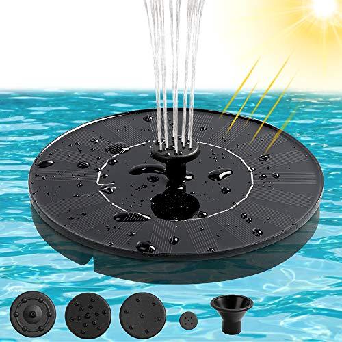 infinitoo Solar Springbrunnen 1.4W Solar Teichpumpe Solarpumpe für Vogeltränke Garten Teich, Fisch-Behälter, Pool | Solar Gartenbrunnen mit 4 Effekte Schwimmender Solar Fontäne Pumpe