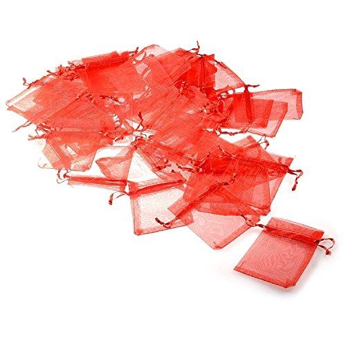 JZK 50 x Rosso 7x9cm sacchetti coulisse organza portaconfetti sacchettini portariso bomboniere per matrimonio compleanno battesimo
