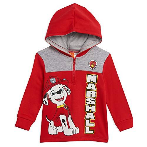 Nickelodeon Paw Patrol Marshall Toddler Boys Half-Zip Pullover Hoodie Red/Grey 4T
