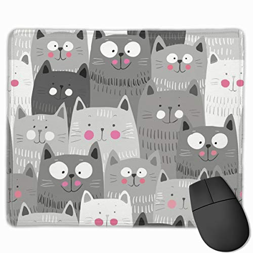 Cat Pattern Gaming Mouse Pad Custom, Rectangle Non-Slip Rubber Base Mouse Mat for Computer, Laptop, Office Decor