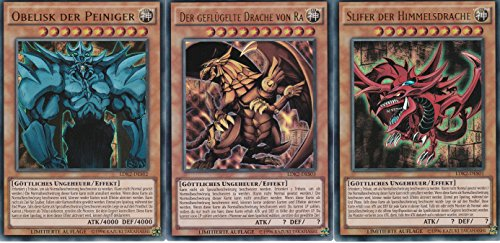 LDK2 - Götterkarten Set Obelisk, Slifer, Ra - Ultra Rare- Yu-Gi-Oh - Deutsch - 1. Auflage