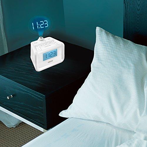 Dual Alarm Digital FM Clock Radio | Time Projection , 8 Relaxing Nature Sounds , LED Display , Multi-Alarm | Snooze , Sleep Timer , Nightlight , Ceiling Clock | SoundSpa HoMedics