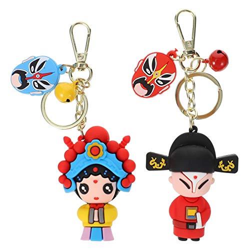 Amosfun 2 piezas de muñeca Peking Oper; llavero, caras, maquillaje, figura china, juguete, llavero, colección, modelo de cadena, colgante mezclado