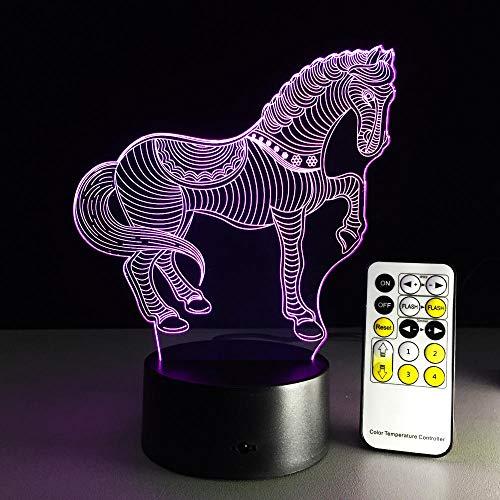 Tianhh 3D fantoom nachtlampje, led bureaulamp, paard, 16-kleurige oplaadbare USB-lamp voor de kinderkamer, decoratie voor kerst, Halloween verjaardagscadeau Zwarte achtergrond + 16 kleurenafstandsbediening