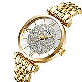OLUYNG Reloj de Pulsera Tendencia de Moda Llena de Clavo de Diamante Reloj de Placa pequeña Reloj Exquisito para Mujer Reloj Dorado para Mujer