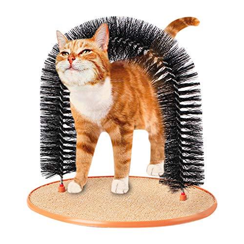 IBLUELOVER Katzenkratzbaum Bogen Kätzchen Selbstpflege Massagegerät Spielzeug weiche Borsten Fellbürste Katzenbogen Haarbürste mit Kratzpad und Katzenminze zum Spielen und Kratzen