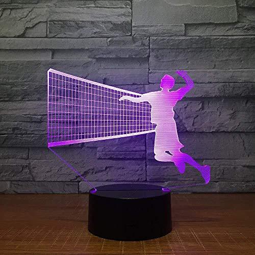 Kinderlampen voor de slaapkamer, kerstcadeau, LED 3D volleyballamp voor heren, LED-nachtlampje, 7 kleuren, voor kinderen, tafellamp, LED met USB-touch nachtlampje, hanglamp voor kinderen, met afstandsbediening